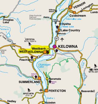 Map of Region2  West Kelowna Okanagan  The Westside Wine trail