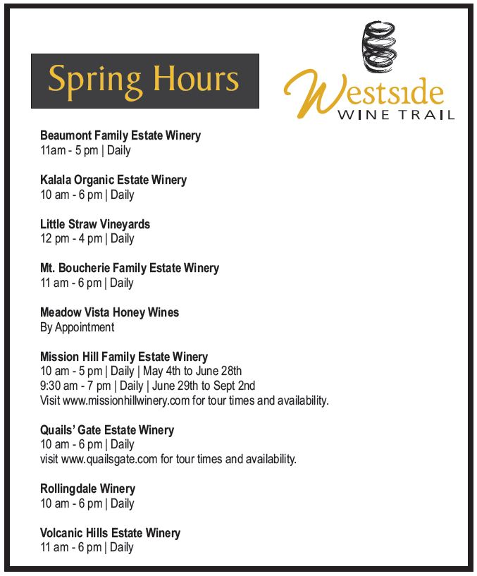 Spring Hours 2013 Westside Wine Trail
